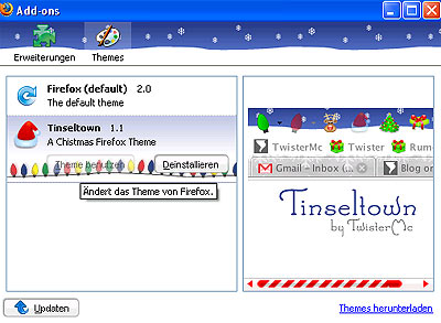 firefox Tinseltown Christmas theme