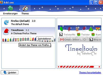 firefox Tinseltown Christmas theme