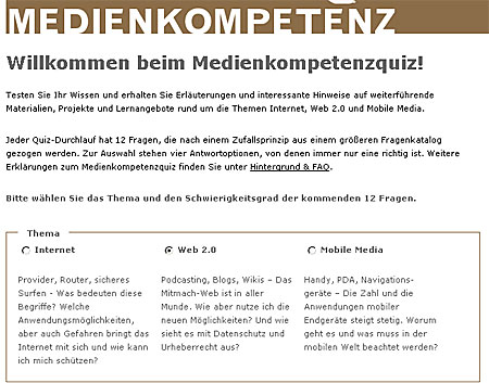 Medienkompetenz-Quiz zu Internet, Web 2.0 und Mobile Media