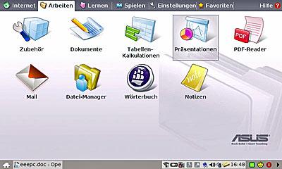 Office Anwendungen beim Der Asus eee PC
