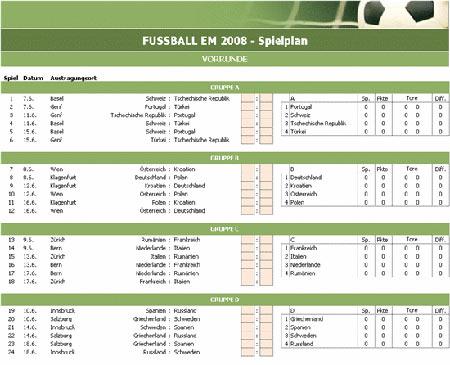 Fussball EM 2008 - Spielplan